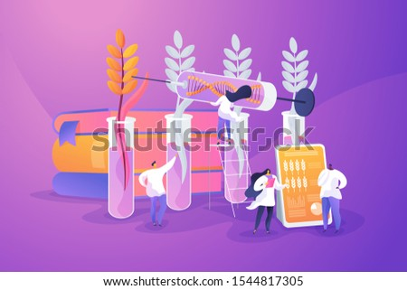 Agricultural genetics. Plants growing in test tube. Scientists breeding artificial crop. Genetically modified plants, GM crops, biotech crops concept. Vector isolated concept creative illustration