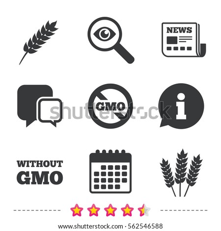 Agricultural icons. Gluten free or No gluten signs. Without Genetically modified food symbols. Newspaper, information and calendar icons. Investigate magnifier, chat symbol. Vector