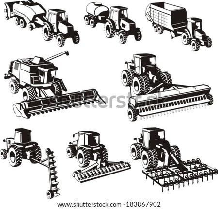 agricultural machine silhouettes set