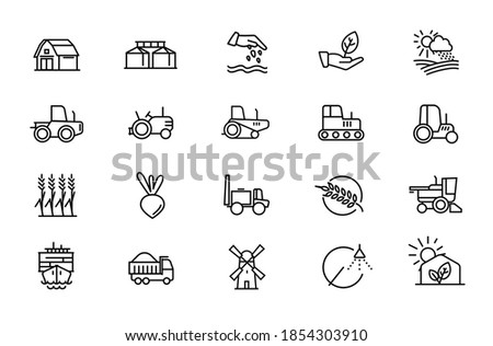 Agricultural machinery and agribusiness vector icons set. Agriculture Farming and horticulture equipment outline symbols pack. Tractor combine harvester isolated contour illustrations. Editable stroke Foto stock ©