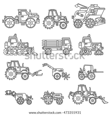 agricultural machinery icons set.  collection. Thin line design