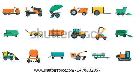 Agricultural machines icons set. Flat set of agricultural machines vector icons for web design