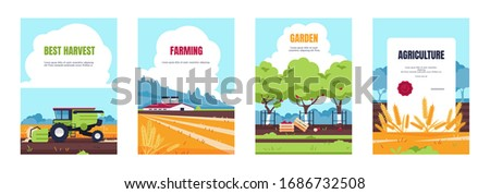 Agricultural poster. Cartoon booklet with farmland fields and farmhouse, smart farming and agricultural industry banners. Vector image set harvest or agriculture equipment technology