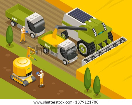 Agricultural robots isometric composition with automated remote controlled combine harvester threshers working in wheat field vector illustration