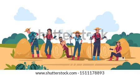 Agricultural work concept. Cartoon farmer characters working in fields, harvesting and cropping. Vector organic eco food background with flat young woman and man standing in garden Foto stock ©