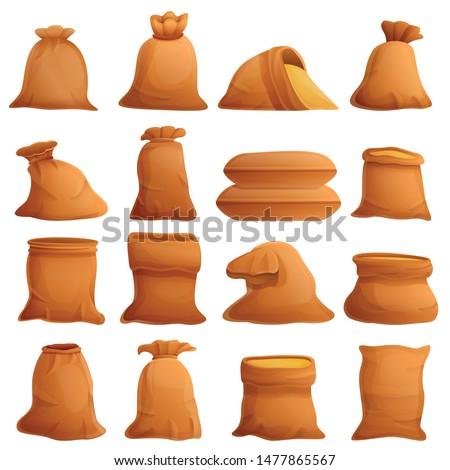 Agriculture bag sack icons set. Cartoon set of agriculture bag sack vector icons for web design Stock photo ©