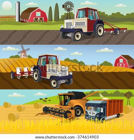 agriculture design concept set