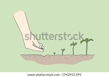 Agriculture, environment, new life concept. Human hand planting seed germination sequence starting new life beginning over green background vector illustration