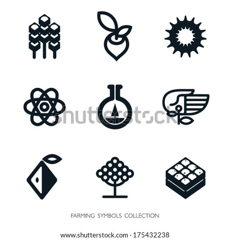 Agriculture icon set Vector graphics Logo template