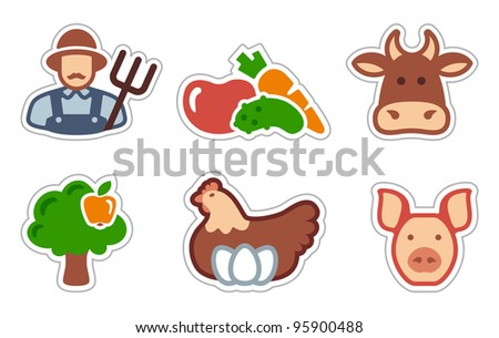 Agriculture icons Farmer and agricultural symbols