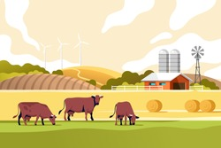 Agriculture industry, farming and animal husbandry concept. Summer rural landscape with cows, fields and farm. Vector illustration.