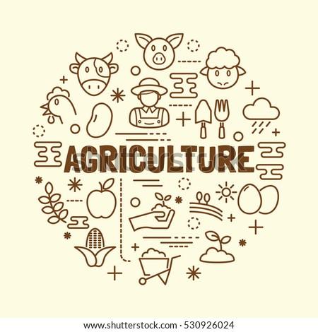 agriculture minimal thin line icons set, vector illustration design elements