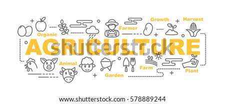 agriculture minimal vector banner design concept, flat style with thin line art icons on white background