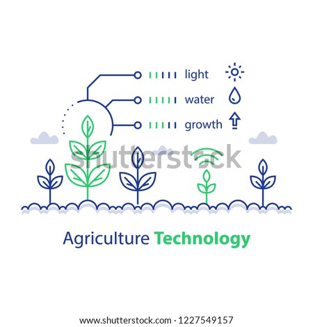Agriculture technology, smart farming, plant stem and conditions report, infographic concept, automation solution, growth control, crop improvement, vector line icon