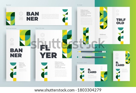 Agriculture theme minimal geometric Set flyer cover, tri-fold, banner, roll up banner, business card