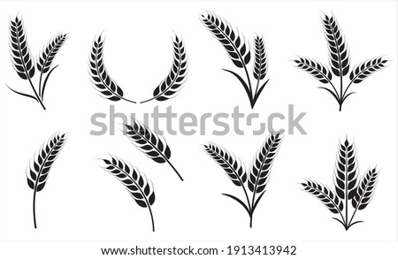 Agriculture wheat icon set, Organic wheat, bread agriculture and natural eat, rice isolated on white background, vector illustration