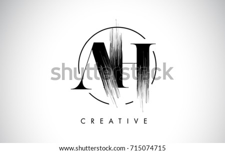 AH Brush Stroke Letter Logo Design. Black Paint Logo Leters Icon with Elegant Circle Vector Design. #715074715