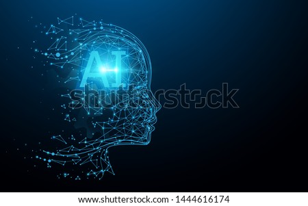 AI - Artificial intelligence. Ai digital brain. Robotics concept. Human face made from polygon. Illustration vector
