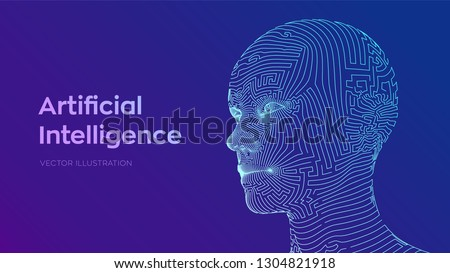 AI. Artificial intelligence concept. Ai digital brain. Abstract digital human face. Human head in robot digital computer interpretation. Robotics concept. Wireframe head concept. Vector illustration.
