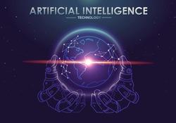 AI(Artificial Intelligence) concept. Robotic hand holding world, vivid color, digital globe and futuristic techology.