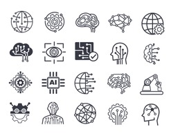 AI (artificial intelligence) icon set. Data science technology.