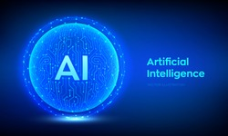 AI. Artificial Intelligence Logo. Artificial Intelligence and Machine Learning Concept. Abstract technology circuit board sphere. Big data innovation technology. Neural networks. Vector illustration.