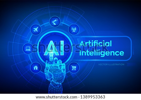 AI. Artificial intelligence. Machine learning, Big data analysis and automation technology in business and industrial manufacturing concept. Hand touching digital interface. Vector illustration.