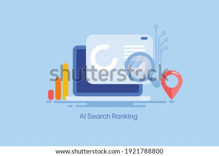AI based search, Intelligent search, Search engine algorithm - conceptual flat design vector illustration with icons