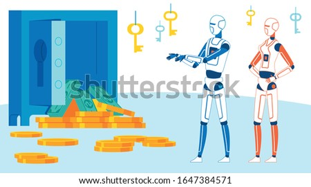 Ai Breaks into Cloud Storage Cartoon Illustration. Identity Theft Performed by Programmed Application Metaphor. Vector Digital Lock System Break-In. Cyborg, Android Valuables Heist