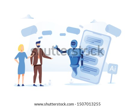 AI, Chatbot, robotics online support Human interactive tech interaction. Artificial intelligence. Humanoid robot talking to people. Technology and engineering concept. Robotics illustration.