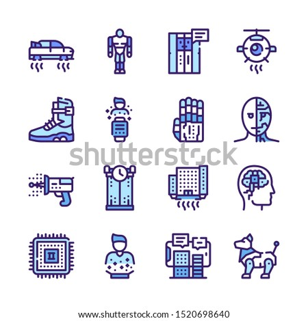 Ai color linear vector icons set. Machine learning algorithms and futuristic innovations. Artificial intelligence thin line illustrations. Robotic technologies, automation outline symbols collection