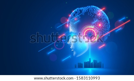 AI controls smart city infrastructure. Artificial intelligence analyze big data urban systems. Abstract cybernetics silhouette head woman with neural network brain in cyberspace. Futuristic concept.