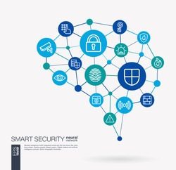 AI creative think system concept. Digital mesh smart brain idea. Futuristic interact neural network grid connect. Cyber security, big data protect, internet safety integrated business vector icons.
