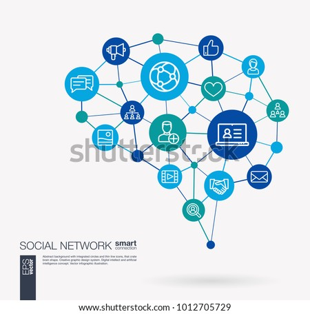 AI creative think system concept. Digital mesh smart brain idea. Futuristic interact neural network grid connect. Society, social media, global people communication integrated business vector icons. Stock photo ©