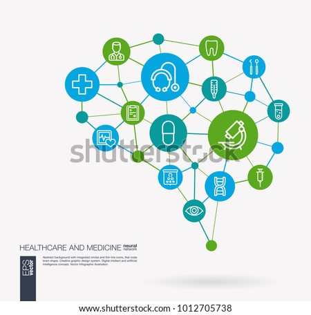 AI creative think system concept. Digital mesh smart brain idea. Futuristic interact neural network grid connect. Healthcare, psychology, medicine and medical service integrated business vector icons.