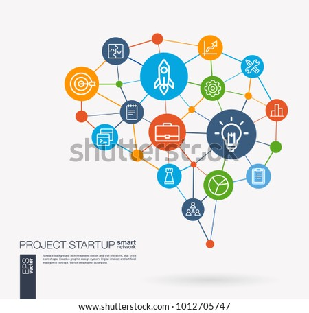 AI creative think system concept. Digital mesh smart brain idea. Futuristic interact neural network grid connect. Startup, web development, light bulb, rocket launch integrated business vector icons.