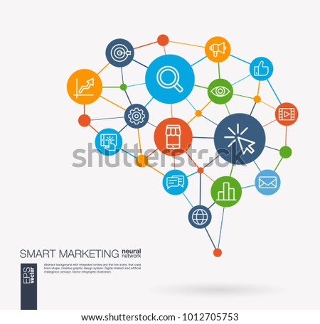 AI creative think system concept. Digital mesh smart brain idea. Futuristic interact neural network grid connect. Market, seo optimization, web development, view stats, integrated business vector icon
