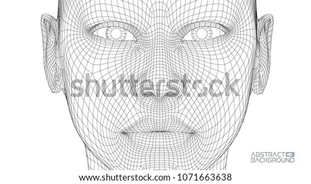 Ai digital brain. Artificial intelligence concept. Human head in robot digital computer interpretation. Wireframe head concept.
