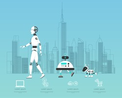 AI diverse robot with high technology illustration design