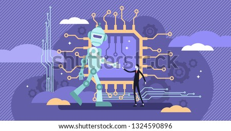 AI ethics vector illustration.Flat tiny robot relationship persons concept.Computer intelligence behavior intellect with ego morality perception logic.Software future philosophical and social issues.