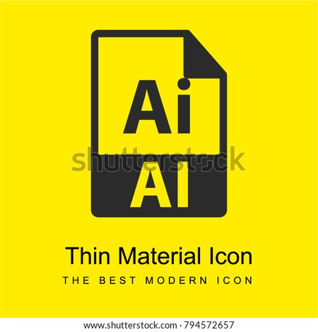 AI file format symbol bright yellow material minimal icon or logo design
