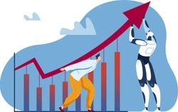 Ai growth, business robot success concept vector illustration. Businessman man character near progress technology, finance chart up. Automation innovation in work background, arrow up.
