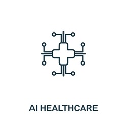 Ai Healthcare icon from artificial intelligence collection. Simple line Ai Healthcare icon for templates, web design and infographics