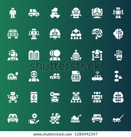 ai icon set. Collection of 36 filled ai icons included Car, Robot, Intelligence, Voice recognition, Algorithm, Psd, Artificial intelligence, Exoskeleton, Commandments, Cyborg