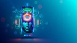 AI in phone. Mobile online assistance in smartphone with artificial intelligence. App of Chatbot or internet helper. Virtual personal business adviser of web services. Technology concept.