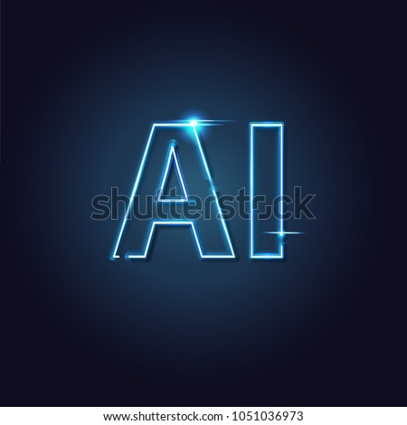 AI Letter Neon light (Artificial Intelligence). Easy to use for adding text and captions to your photos.
