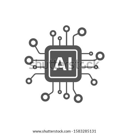 AI Processor vector icon for websites and mobile minimalistic flat design. Mini AI CPU icon in flat style. Mobile AI CPU. EPS 10