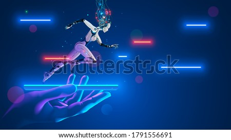 AI Robot cyborg running on screen smartphone in hand. Cybernetic girl accelerates in cyberspace. Artificial intelligence, neural networks, 5g internet speeds up phone. Flying Hi-speed internet signals