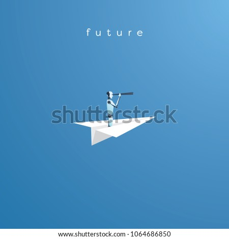 AI robot flying on paper plane looking through telescope. Symbol of technology advance, future vision. Eps10 vector illustration.