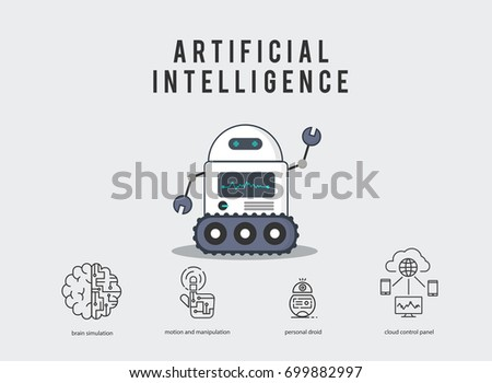 AI smart robot with technology icons